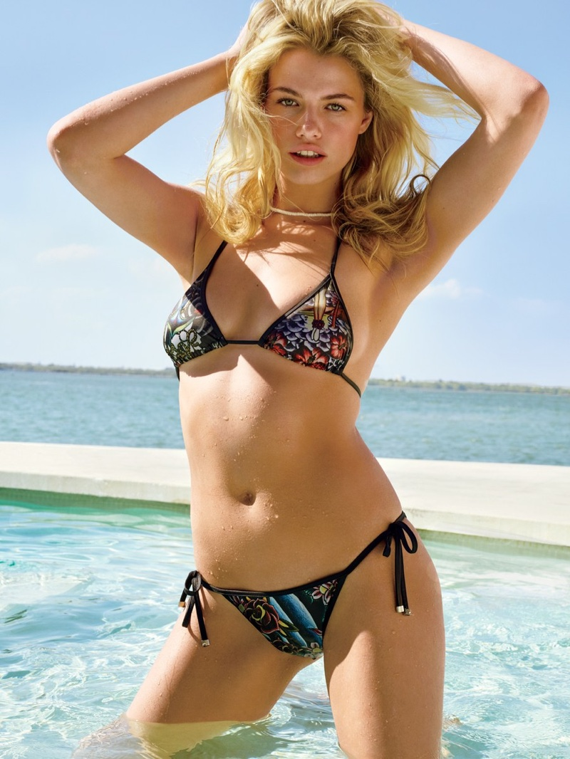 Hailey Clauson rocks a skimpy two-piece bikini in the fashion feature