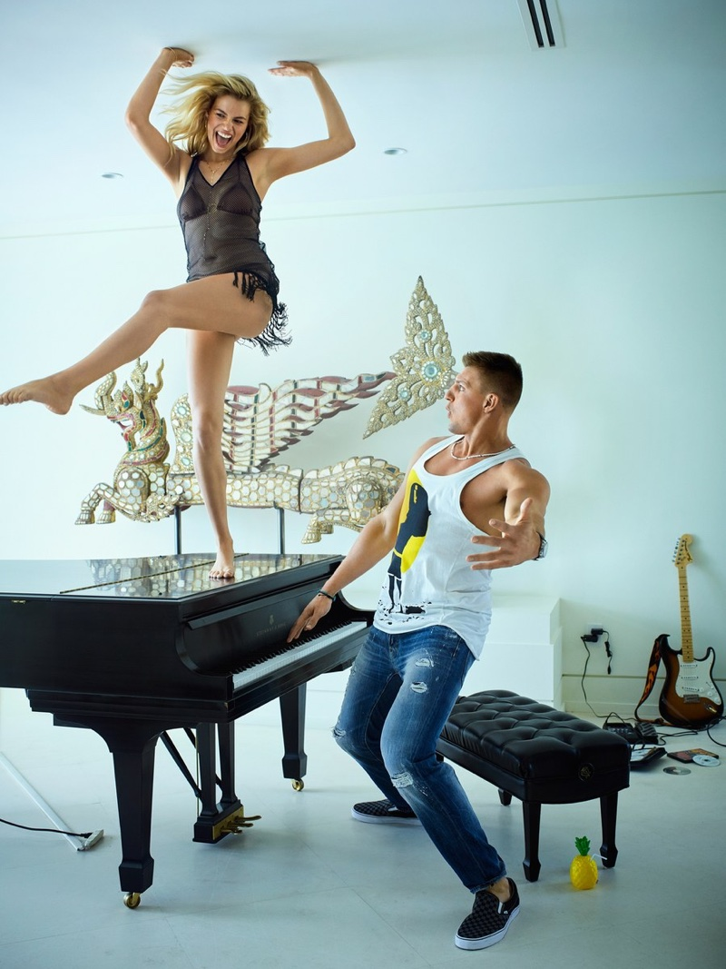 Posing on a piano, Hailey Clauson kicks up her heels in a L'Agent by Agent Provocateur dress and Melissa Odabash bikini