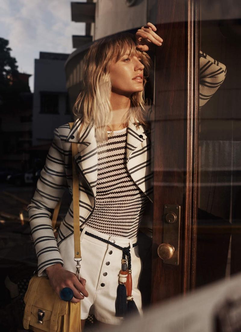 Veronica Beard Hadley Chevron Moto Jacket, Rag & Bone / JEAN Brenna Cold Shoulder Striped Knit and Rag & Bone Branson Short