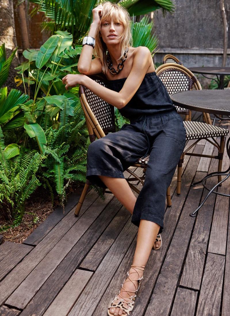 Joie Strapless Linen Jumpsuit and Ancient Greek Sandals Antigone Leopard Calfhair Sandal