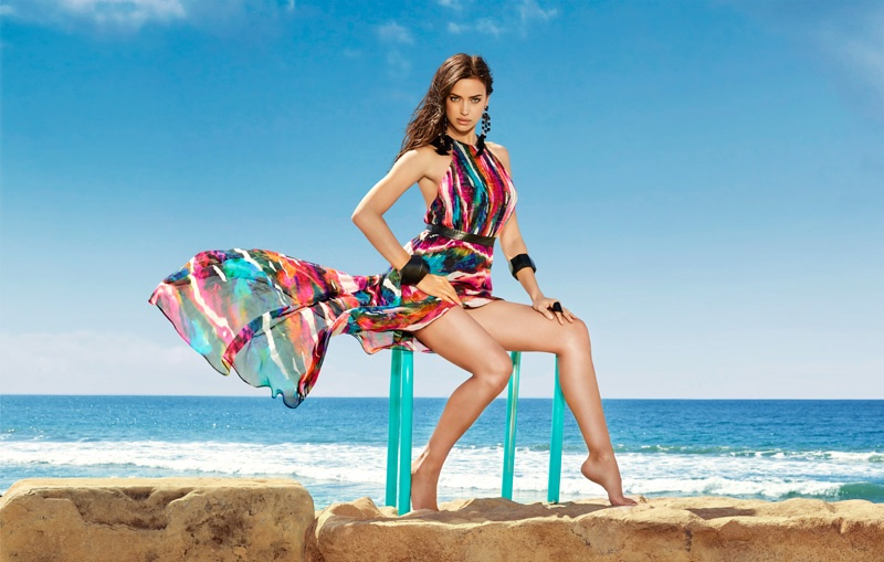 Irina Shayk flaunts her legs in Bebe Caitlyn Hi-Lo Dress