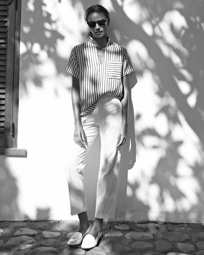 J. Crew Collection Silk Top in Stripe, Patio Pant in Eyelet, Collins Leather Loafers and Sam Sunglasses