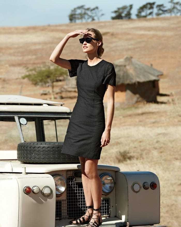 J. Crew Flutter-Sleeve Dress in Eyelet, Studded Lace-Up Gladiator Sandals and Irving Sunglasses