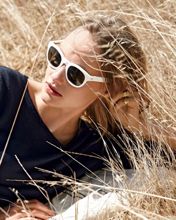 J. Crew Yarn-Dyed Linen Pocket Crewneck Sweater and Sam Sunglasses