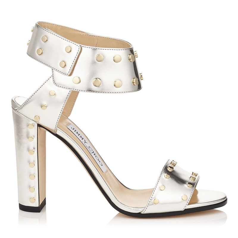 Jimmy Choo Veto 100 Silver Mirror Leather Sandals with Gold Studs