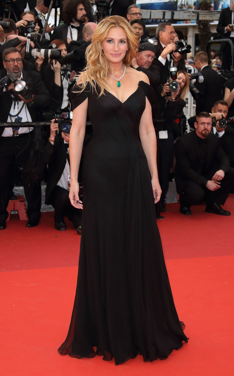 MAY 2016: Julia Roberts attends the 2016 Cannes Film Festival premiere of Money Monster wearing a black Giorgio Armani gown. Photo: Mike Marsland / Getty