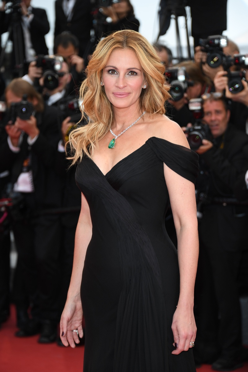 MAY 2016: Julia Roberts attends the 2016 Cannes Film Festival premiere of Money Monster wearing a black Giorgio Armani gown. Photo: Venturelli / Getty