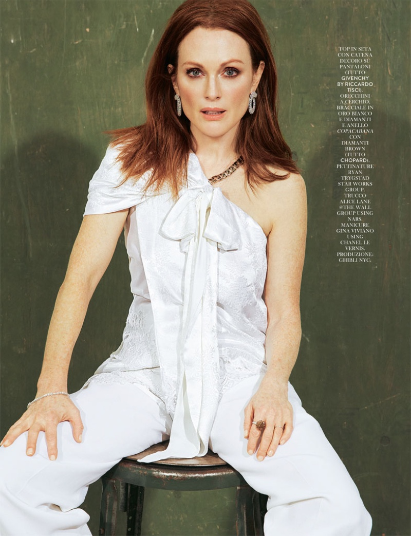 Julianne Moore wears Givenchy lace top and pants
