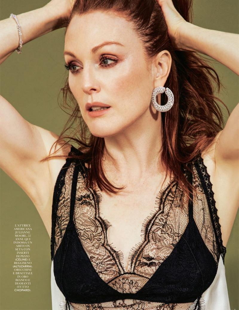 Julianne Moore wears Celine lace camisole top with Chopard hoop earrings