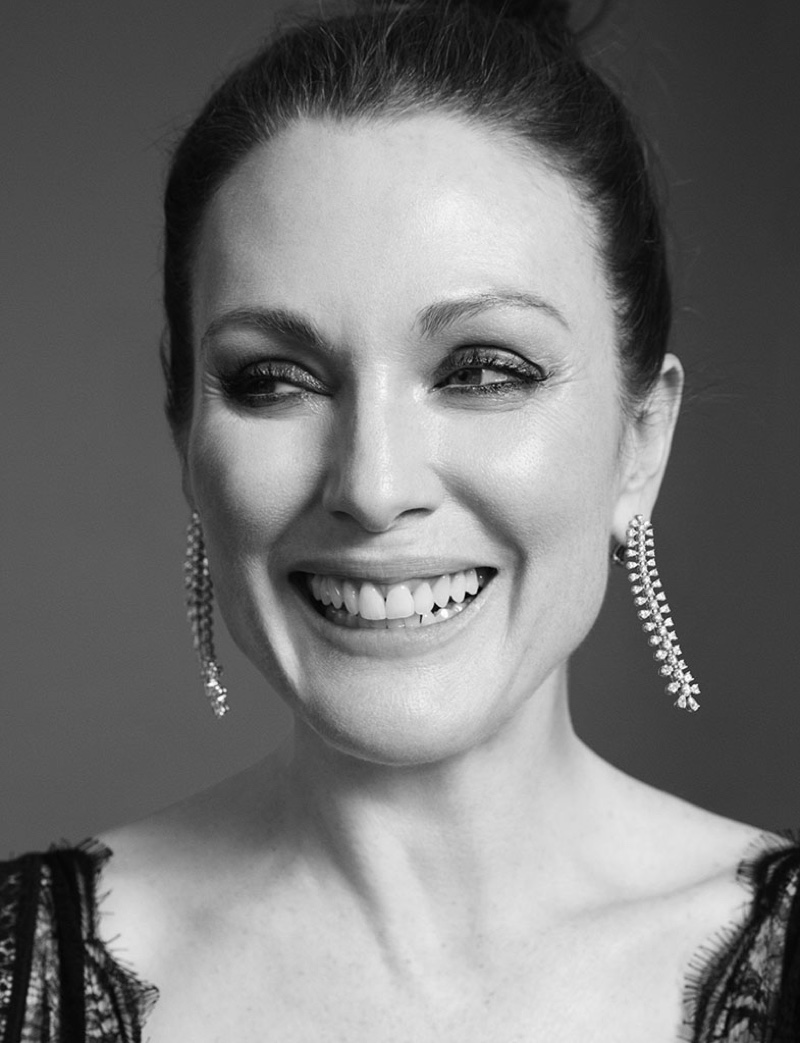 Julianne Moore is all smiles in this black and white shot
