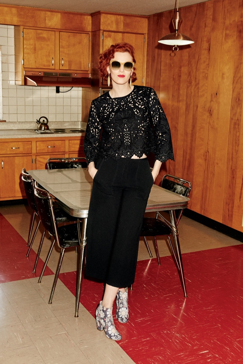Karen Elson models Theory lace crop top and culottes