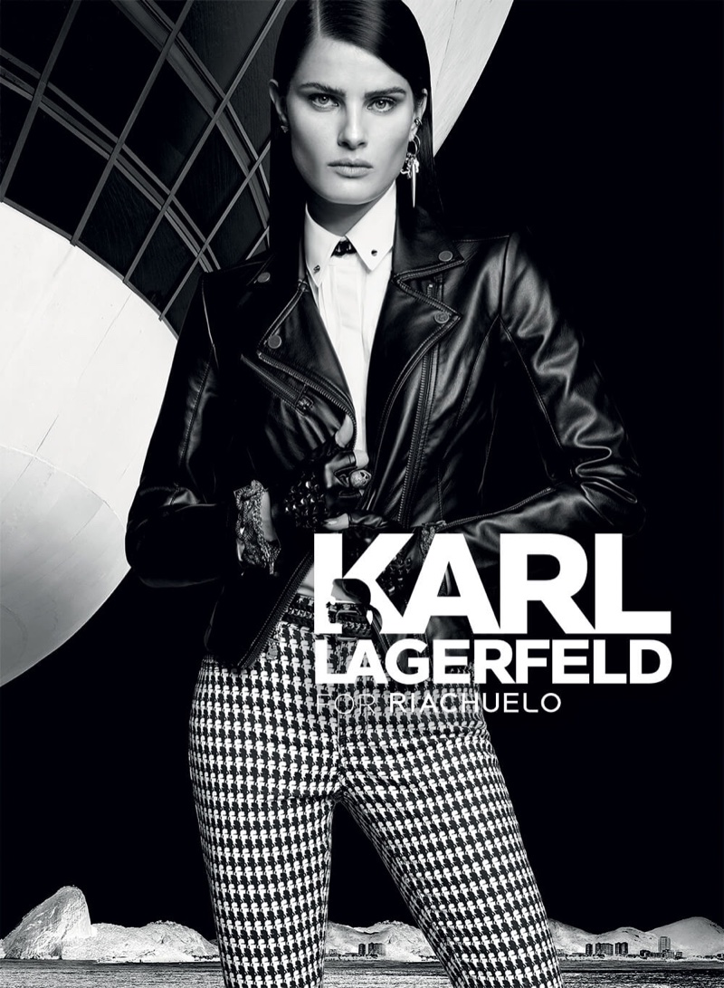 Isabeli Fontana wears a leather jacket with high-waisted pants in the Karl Lagerfeld for Riachuelo campaign