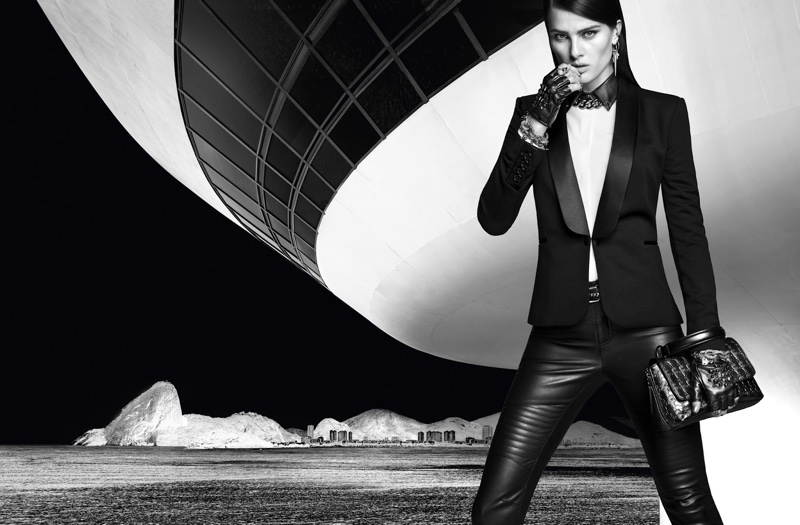 Isabeli Fontana wears a fitted blazer and leather pants from the Karl Lagerfeld for Riachuelo collection