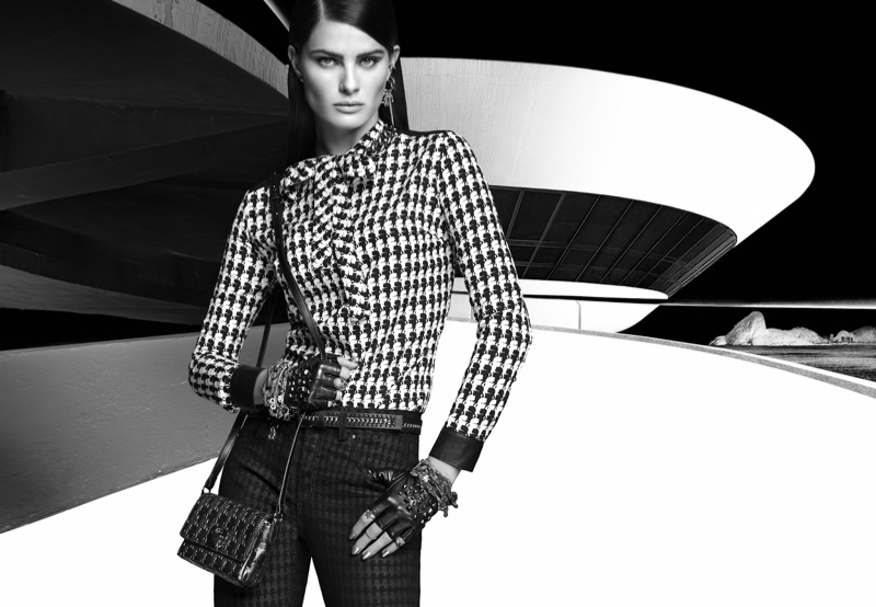 Isabeli Fontana wears printed jacket from Karl Lagerfeld for Riachuelo campaign