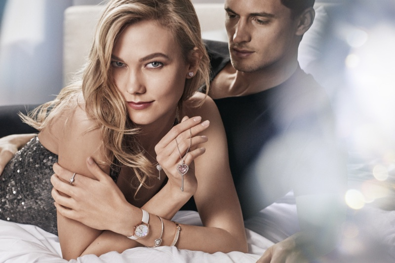 Karlie Kloss poses with Garrett Neff in Swarovski campaign