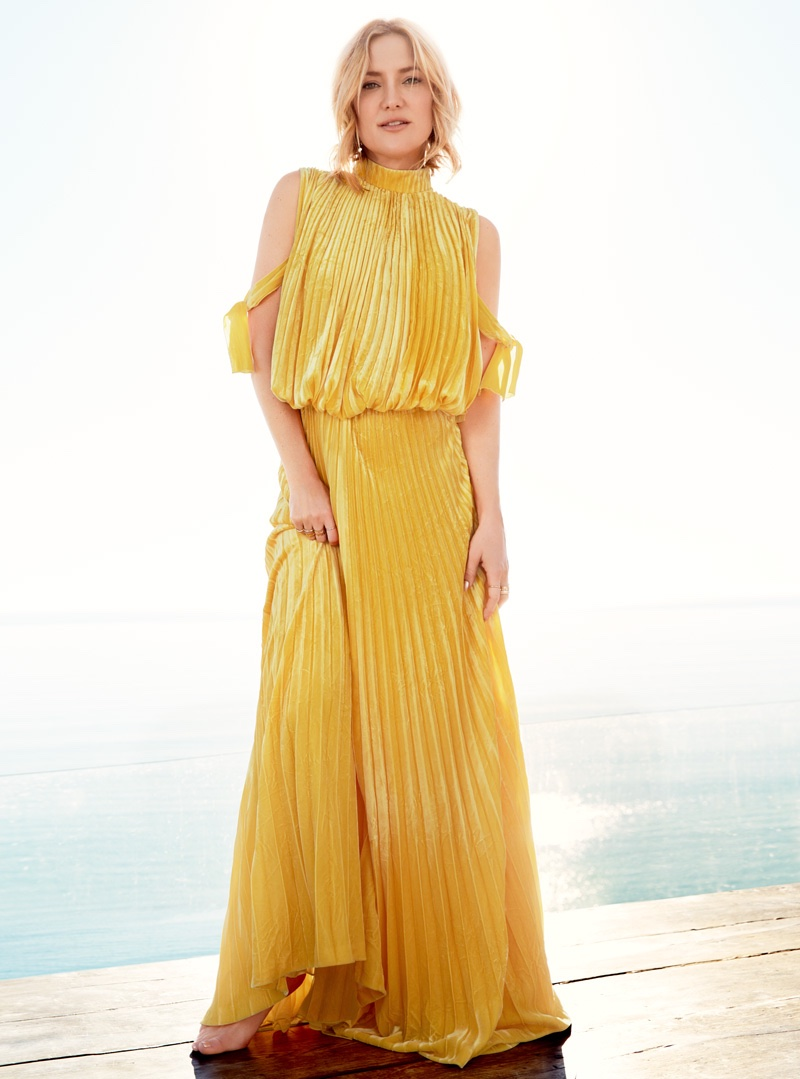 Photographed in a pleated gown by Valentino Haute Couture, Kate Hudson looks bohemian chic