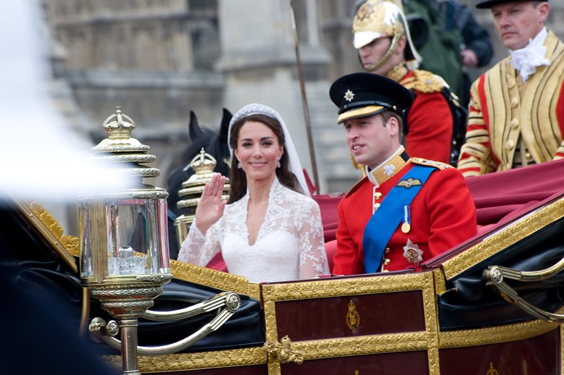 APRIL 2011: Kate Middleton & Prince William on their wedding day at the Westminster Abbey. Photo: Featureflash / Shutterstock.com