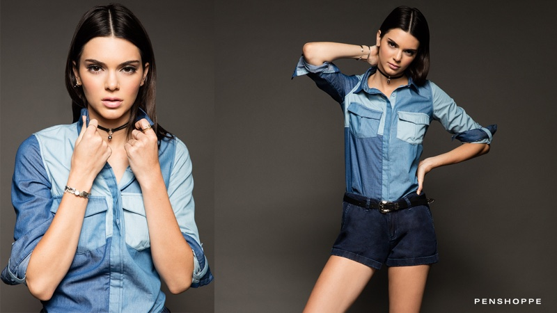 Kendall Jenner poses in patchwork jean top and shorts for the campaign