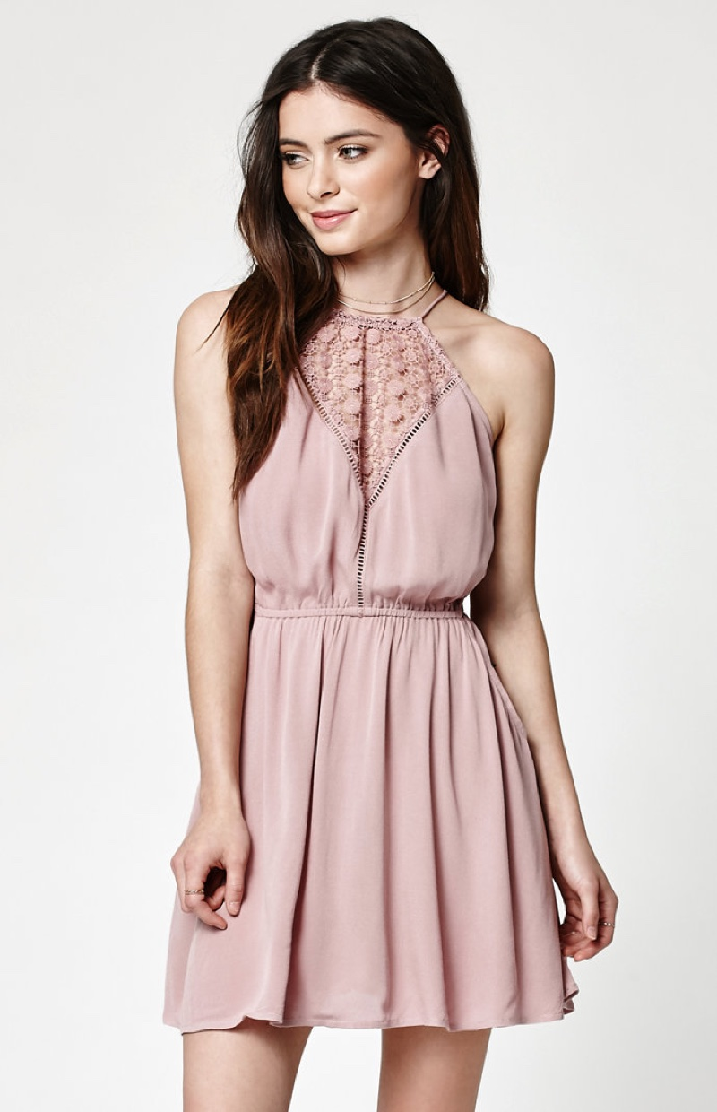 Kendall + Kylie Goddess Neck Crochet Inset Dress