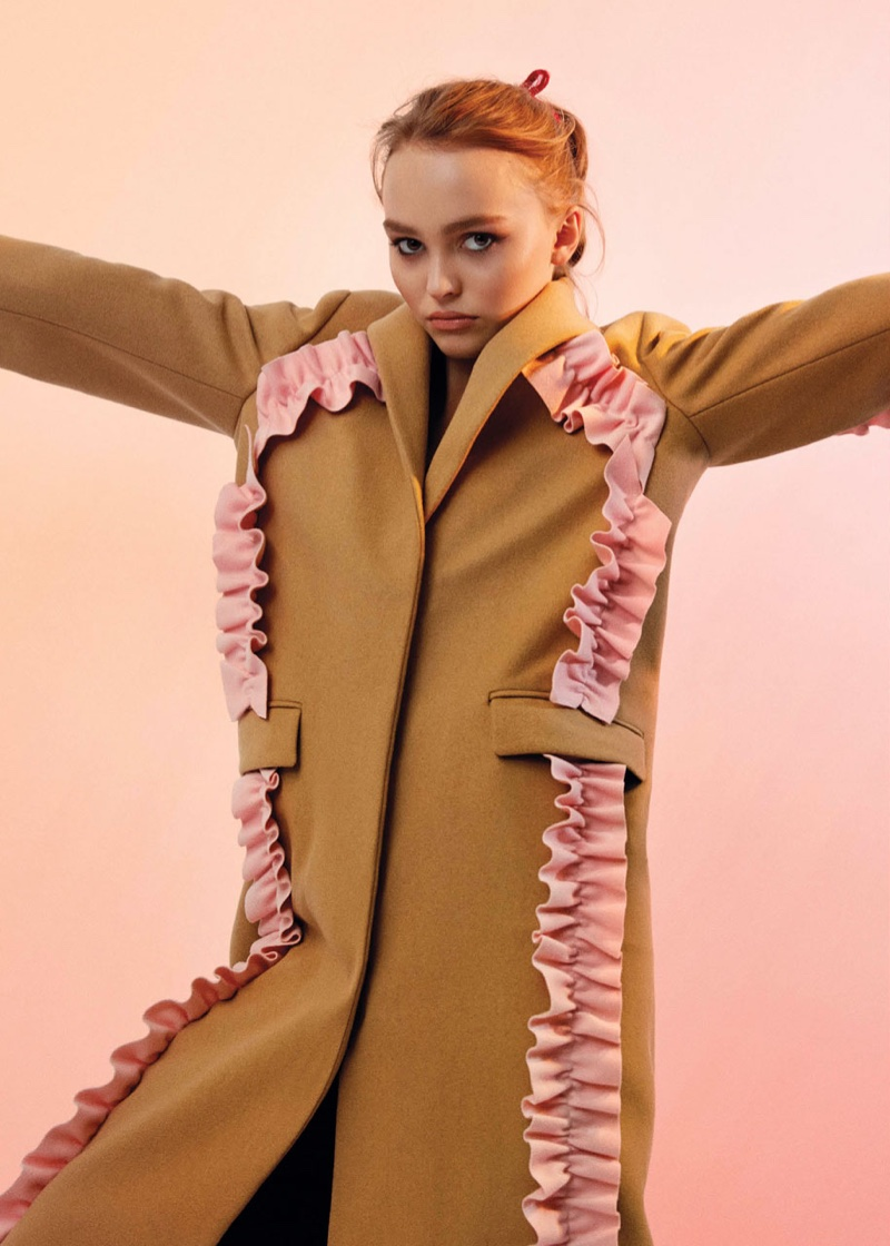 Lily-Rose Depp wears MSGM coat with pink ruffles