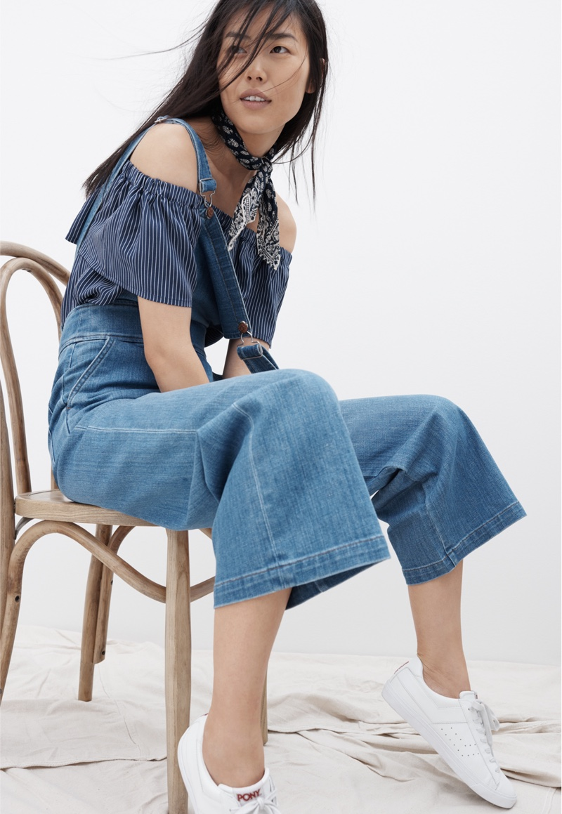 Madewell Off-the-Shoulder Top, Summit Culotte Overalls and White Pony Sneakers