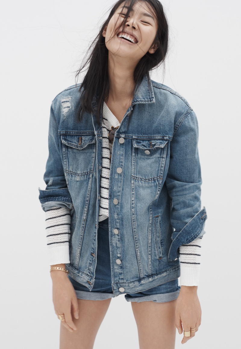 Madewell Oversized Jean Jacket, Striped Dockline Sweater and Westside High-Rise Jean Shorts
