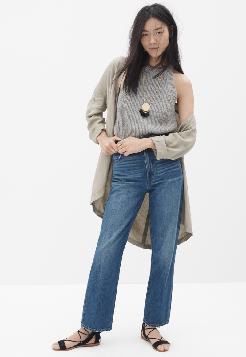 Madewell Westside Straight Jeans, Cropped Valley Sweater-Tank and Drapey Open Jacket