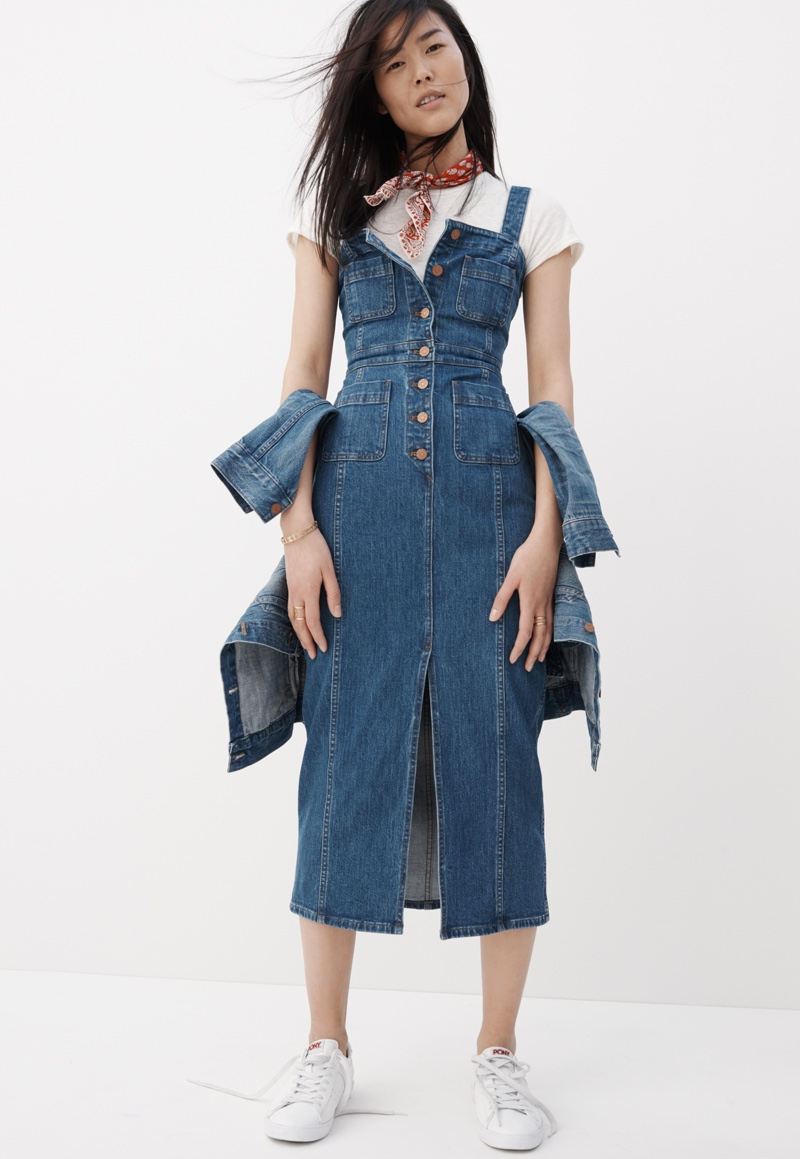 Madewell Denim Button-Front Dress, Shrunken Hi-Fi Tee and White Pony Sneakers