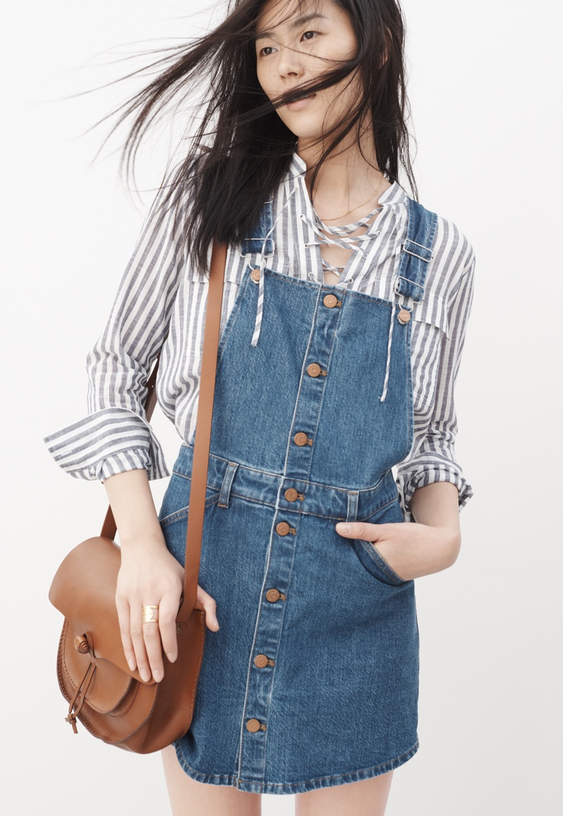 Madewell Denim Skortalls, Terrace Lace-Up Shirt and Leather Savannah Saddlebag