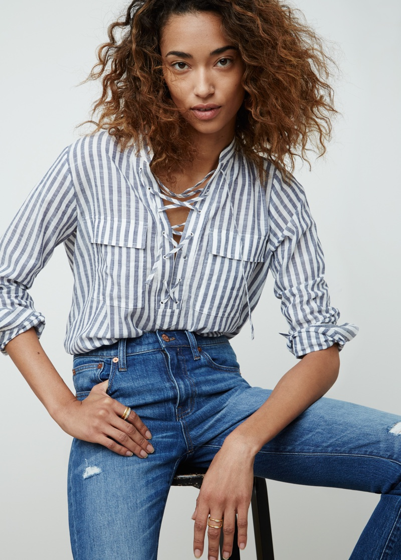 Madewell Terrace Lace-up Shirt and High-Rise Skinny Jean