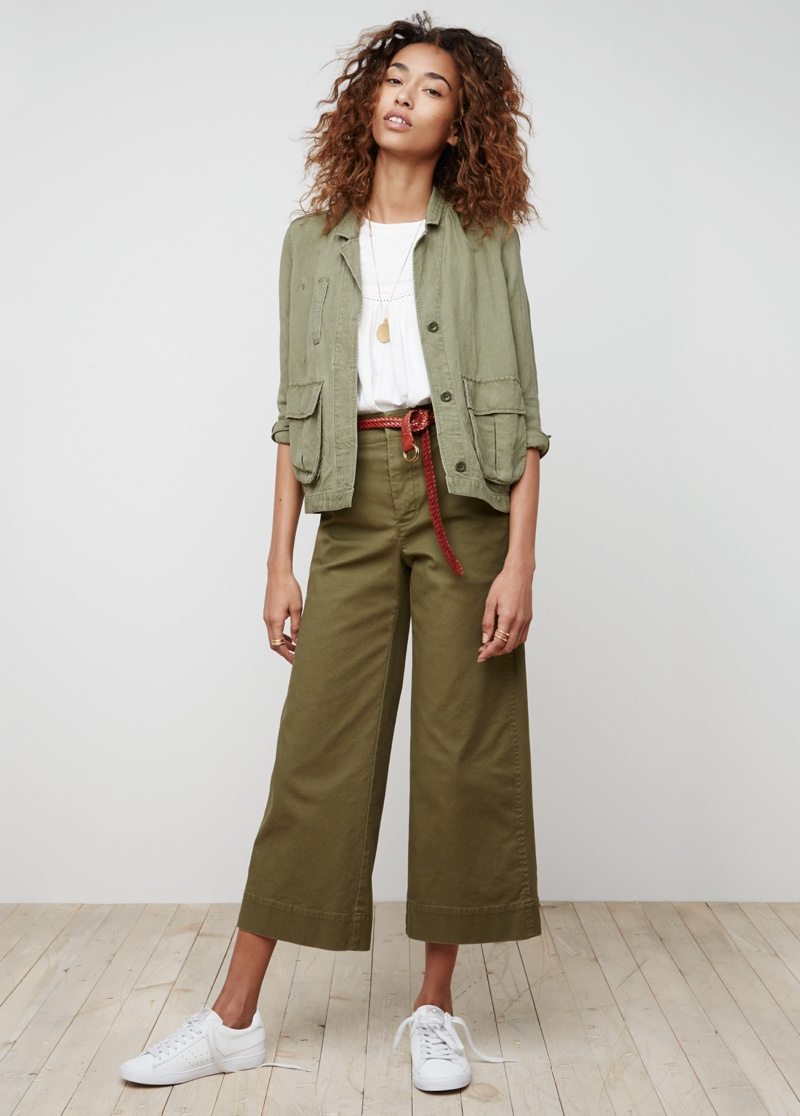 Madewell League Cargo Jacket, Swing Tank Top and Langford Wide-Leg Crop Pants