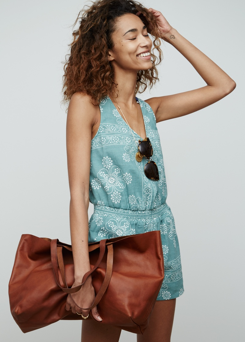 Madewell Beachbomber Coverup Romper and East-West Transport Tote