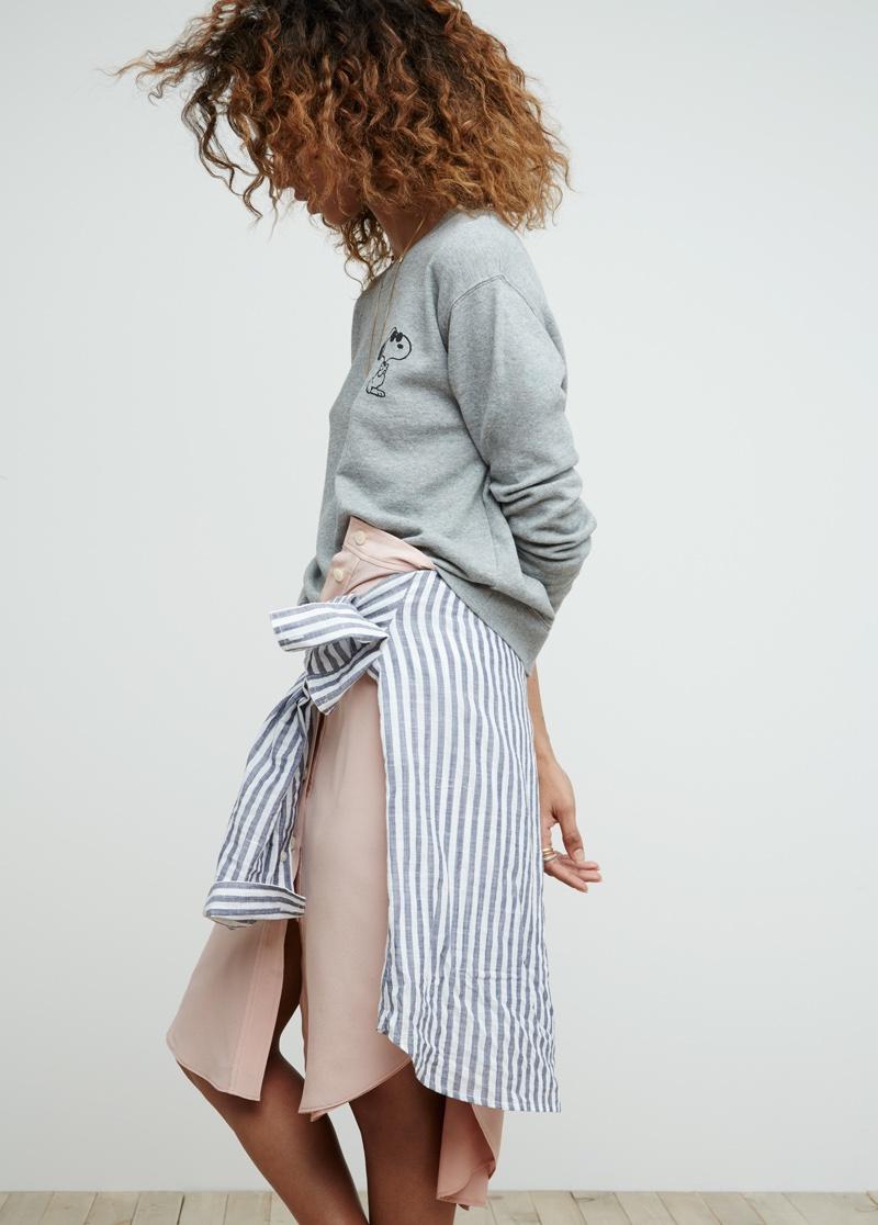 Madewell x Peanuts Joe Cool Sweatshirt, Terrace Lace-Up Striped Shirt and Silk Island Skirt