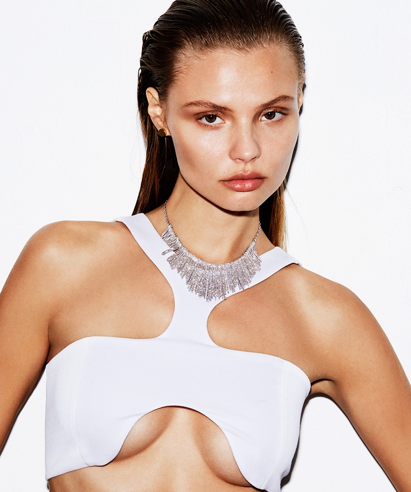 Magdalena Frackowiak wears sparkling gems with cut-out top