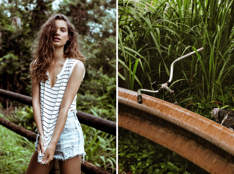 Lise Bjørgen Olsen keeps comfortable in a striped tank from Mate the Label