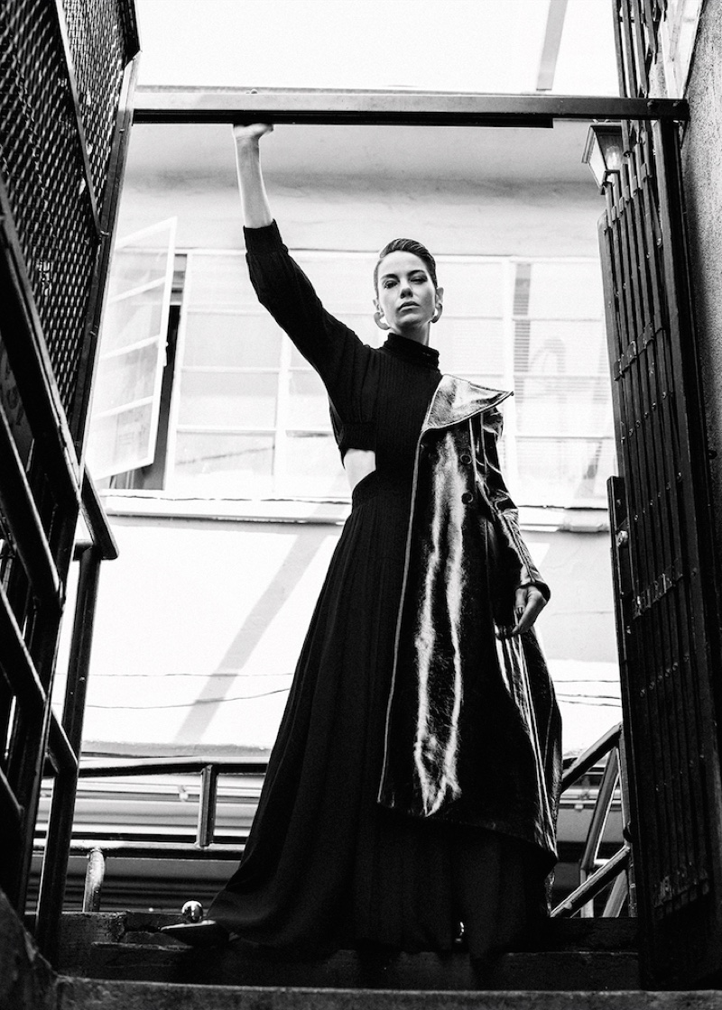 Michelle Monaghan makes a dramatic statement in Fendi dress and Beaufille coat