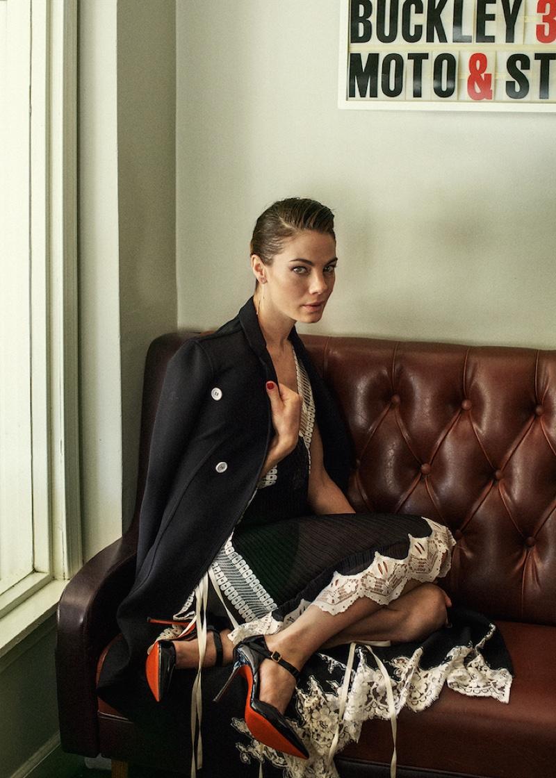 Photographed by Brian Higbee, Michelle Monaghan wears Celine coat and Chloe dress with Soebedar heels