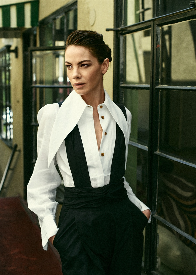 Michelle Monaghan looks sharp in Vivienne Westwood shirt with Rachel Comey jumpsuit