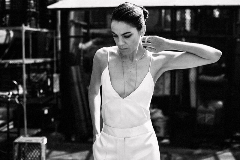 Michelle Monaghan poses in Celine top and pants