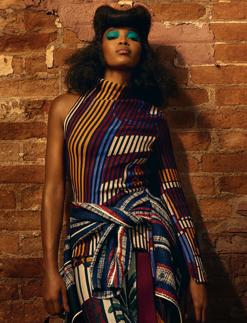 Naomi Campbell wears eclectic looks for the fashion editorial