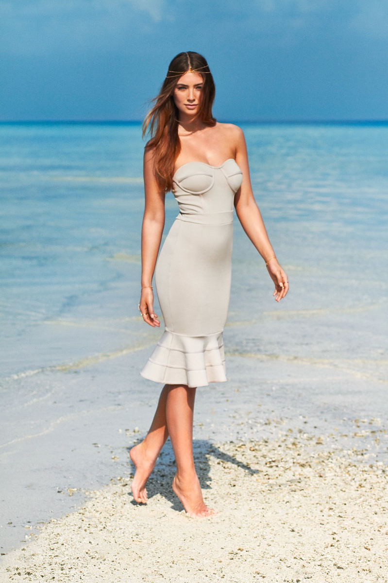 Lorena poses in the Bandage Flounce Bodycon dress by Nelly