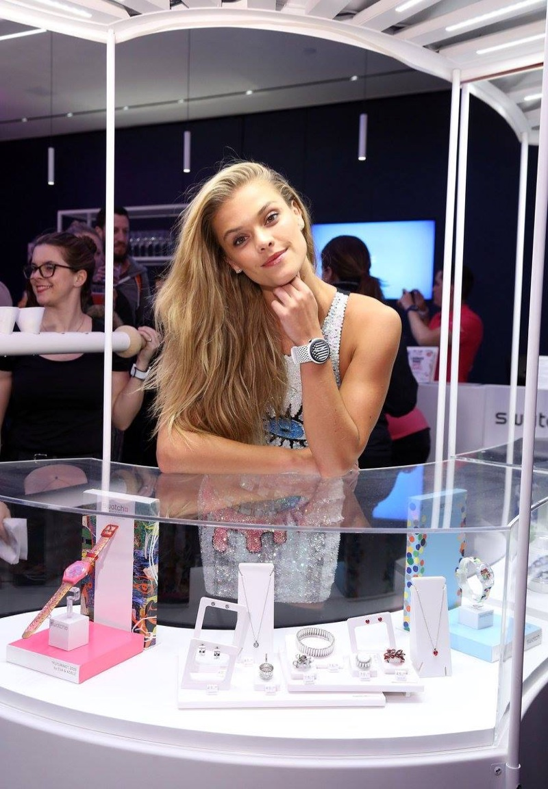MAY 2016: Nina Agdal attends Swatch's A Night of POP! event wearing a Swatch watch. Photo: Sara Jaye Weiss/StartraksPhoto.com