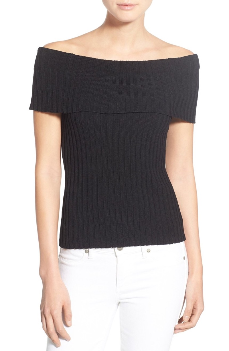 Olivia Palermo Chelsea28 Rib Knit Off the Shoulder Sweater