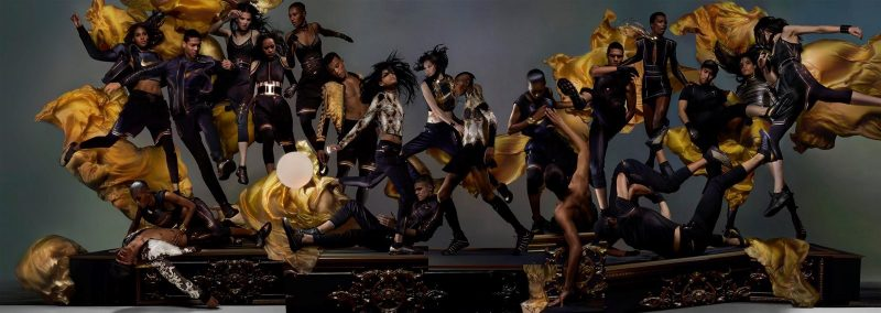 Olivier Rousteing x NikeLab and Balmain archive pieces featured in Dazed Magazine.