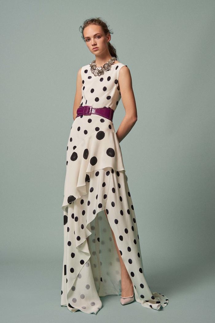Oscar de la Renta Resort 2017: polka dot print top and high-low skirt with ruffle hems