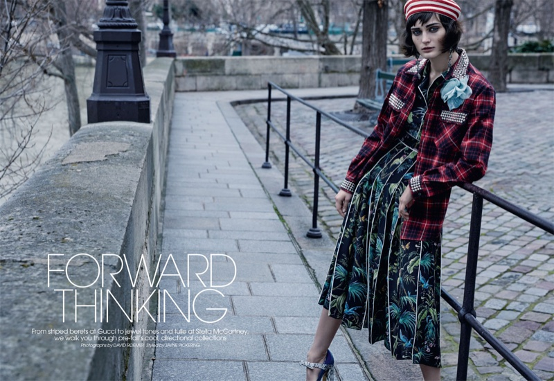Photographed by David Roemer, the model wears looks from designers' pre-fall 2016 collections