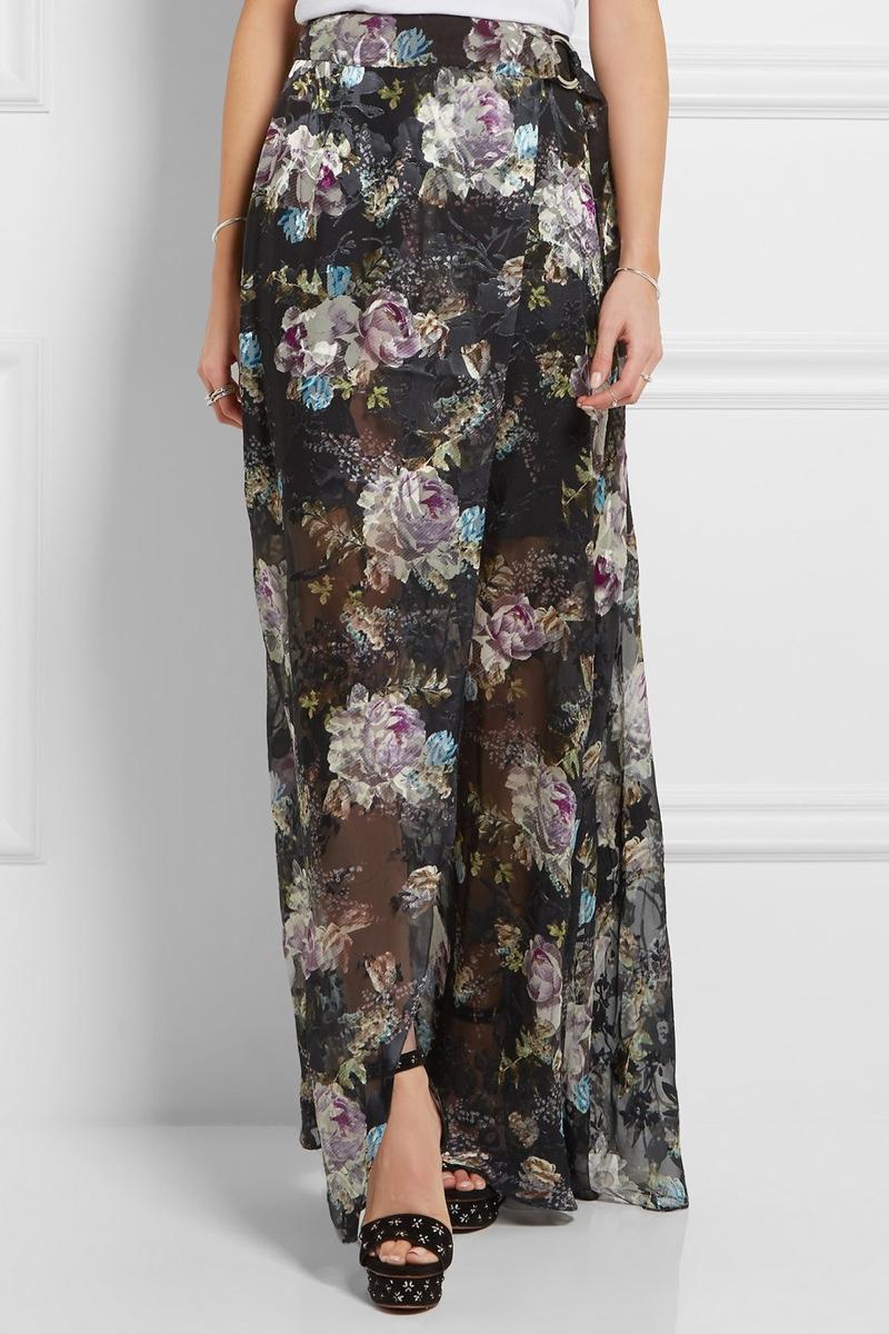 Preen Adria Floral Print Devore Chiffon Maxi Skirt