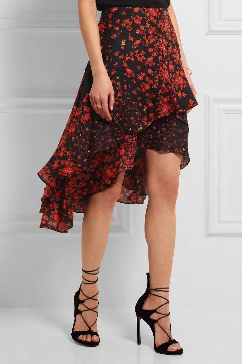 Preen Ava Tiered Floral Print Hammered Silk Skirt