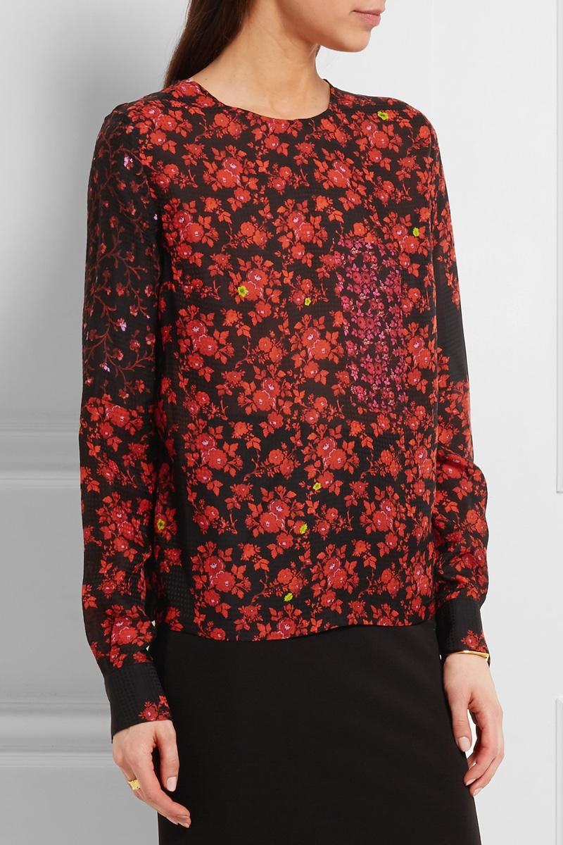 Preen Kira Floral Print Hammered Silk Top