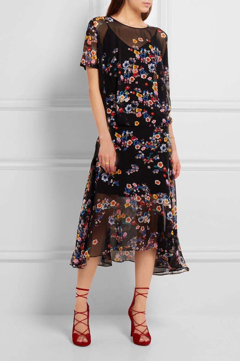 Preen Melina Floral Print Silk Georgette Midi Dress